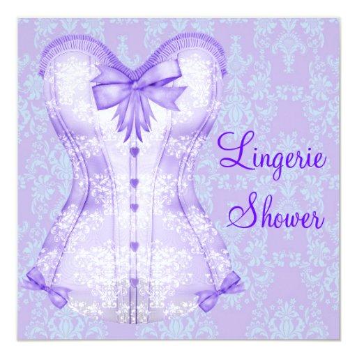 Damask Purple Corset Lingerie Bridal Shower 13 Cm X 13 Cm Square Invitation Card