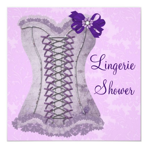 Damask Purple Corset Lingerie Bridal Shower Personalized Invitations