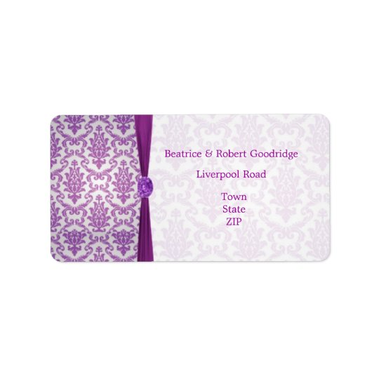 Damask purple, gemstone picture Wedding Avery Label