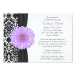 Damask Purple Gerbera Daisy Recipe Bridal Shower 13 Cm X 18 Cm Invitation Card