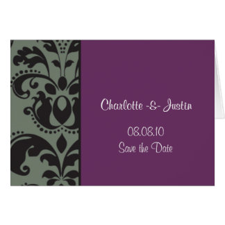damask purple; save the date card