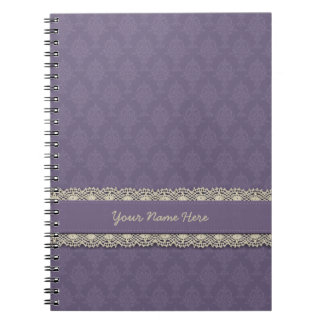 Damask Purple Tone on Tone Spiral Notebook