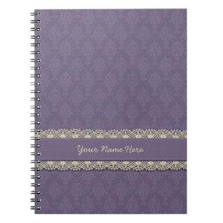 Damask Purple Tone on Tone Spiral Notebooks