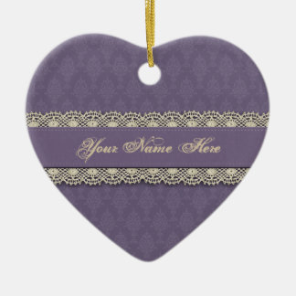 Damask Purple Victorian Look Christmas Ornament