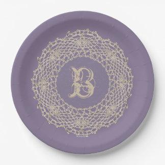 Damask Purple Victorian Look Paper Plate