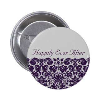 Damask Purple Wedding 6 Cm Round Badge