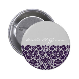 Damask Purple Wedding 6 Cm Round Badge