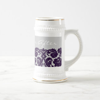 Damask Purple Wedding Beer Steins