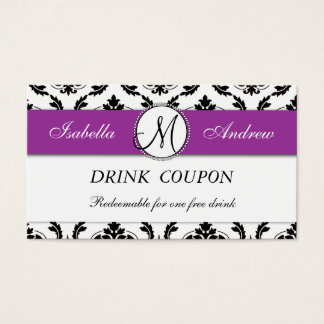 Damask Purple Wedding Free Drink Coupon Card
