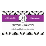 Damask Purple Wedding Free Drink Coupon Card Pack Of Standard Business Cards
