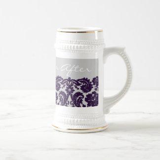 Damask Purple Wedding Mugs