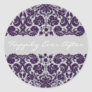 Damask Purple Wedding Stickers