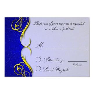 Damask Quarter Blue  Reply Card 9 Cm X 13 Cm Invitation Card