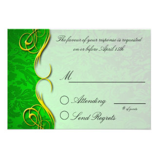 Damask Quarter Green Reply Card Custom Invitation