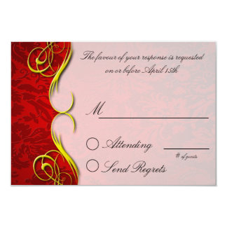 Damask Quarter Red  Reply Card Personalized Invites