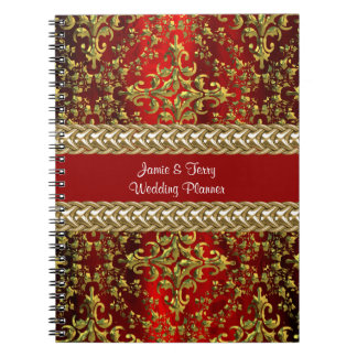 Damask Red Gold Chain Wedding Planner Notebook