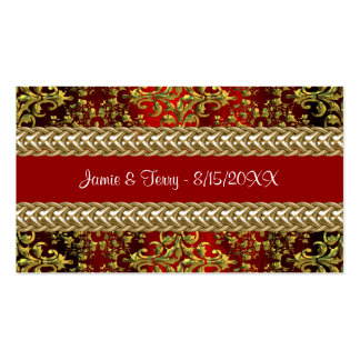 Damask Red Gold, Gold Chain Placecard Double-Sided Standard Business Cards (Pack Of 100)