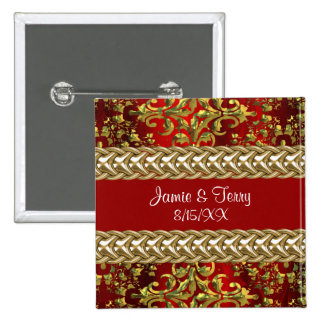 Damask Red Gold, Gold Chain Wedding Pin