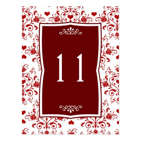 Damask red on white floral, hearts Table Number
