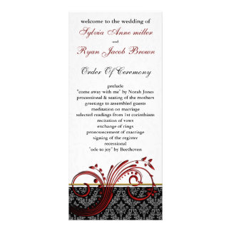 damask red Wedding program Rack Card