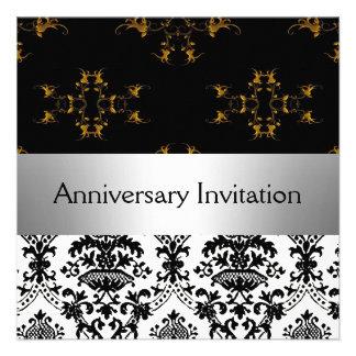 Damask Retro Wedding Anniversary Invitation Custom Invitation
