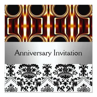 Damask Retro Wedding Anniversary Invitation