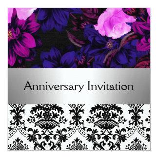 """Damask Retro Wedding Anniversary Invitation 5.25"""" Square Invitation Card"""