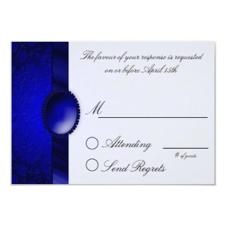 Damask Ribbon Blue  Reply Card Custom Invites