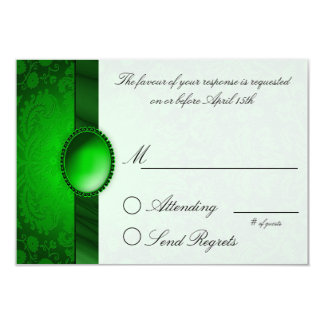 Damask Ribbon Green  Reply Card 9 Cm X 13 Cm Invitation Card