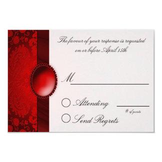 Damask Ribbon Red  Reply Card 9 Cm X 13 Cm Invitation Card