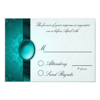 Damask Ribbon Turquoise  Reply Card 9 Cm X 13 Cm Invitation Card