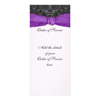 Damask Ribbon Wrapped Order of Service - Purple Personalized Rack Card