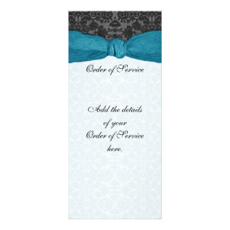 Damask Ribbon Wrapped Order of Service - Teal Rack Card Template