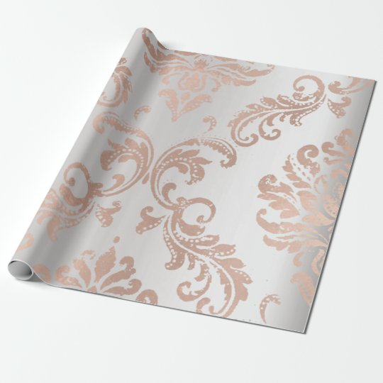 Damask Rose Gold Metallic Grey Ombre Cottage Wrapping Paper