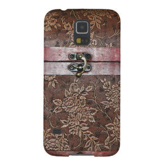 Damask Rose Leather Vintage Chest Galaxy S5 Covers