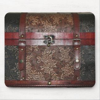 Damask Rose Leather Vintage Chest Mouse Mat