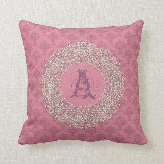 Damask Rose Pink Ecru Crochet Throw Pillow