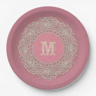 Damask Rose Pink Paper Plate