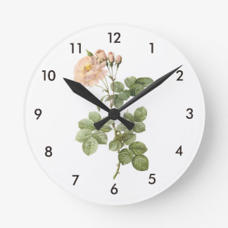 damask rose (Rosa damascena aurora) by Redouté Clock