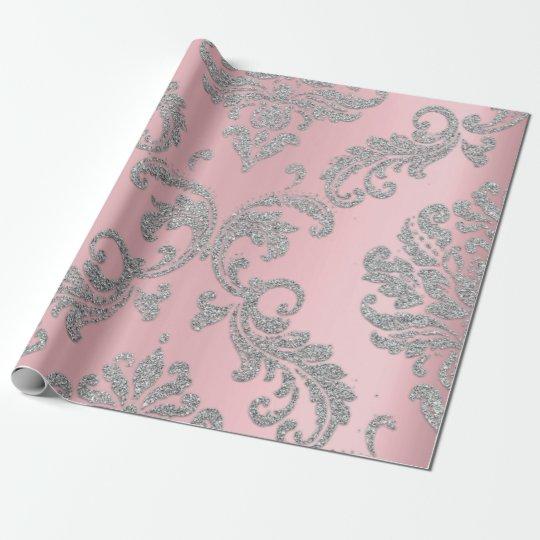 Damask Rose Silver GrayRoyal Metallic Pink Glitter Wrapping Paper