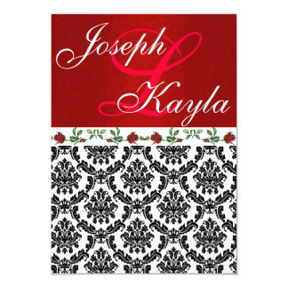 Damask & Roses Elegant Red & Black & White Wedding 13 Cm X 18 Cm Invitation Card