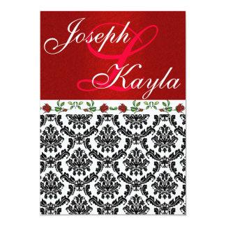 Damask & Roses Elegant Red & Black & White Wedding 13 Cm X 18 Cm Invitation Card