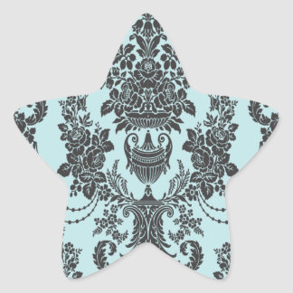 damask roses light blue and black.ai star sticker