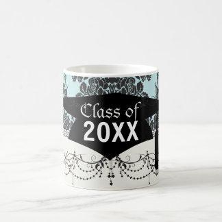 damask roses light blue and black graduation basic white mug