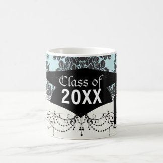 damask roses light blue and black graduation mugs