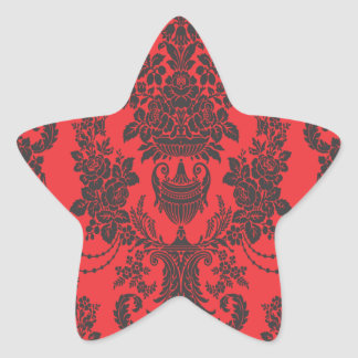 damask roses red and black star stickers