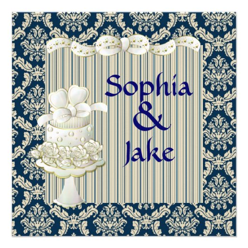 Damask Royal Blue Vintage Wedding Invitaton Custom Announcements
