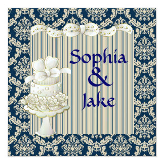Damask Royal Blue Vintage Wedding Invitaton 13 Cm X 13 Cm Square Invitation Card