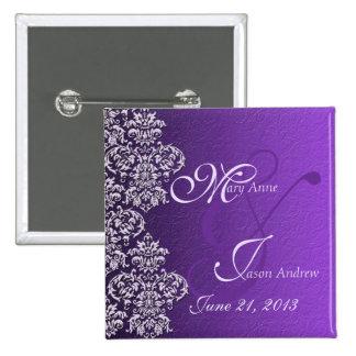 Damask Royal Purple Wedding Button