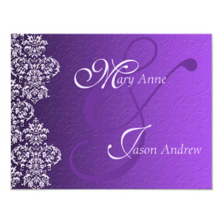 Damask Royal Purple Wedding Invitation Card